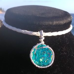 Turquoise & Fire White Leather Necklace